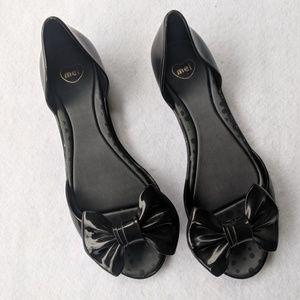 3a453ac933ba Mel by Melissa Shoes - Mel by Melissa Peep Toe Jelly Bow Accent Flats
